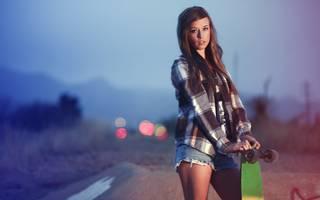 Mädchen Skateboarder
